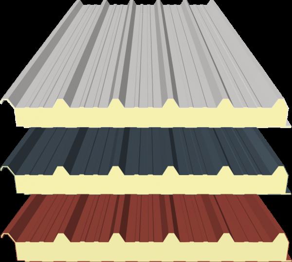 Sandwichplatten Dach - 80mm - RAL 9002 (Grauweiß), RAL 8012 (Rotbraun) und RAL 7016 (Anthrazitgrau)