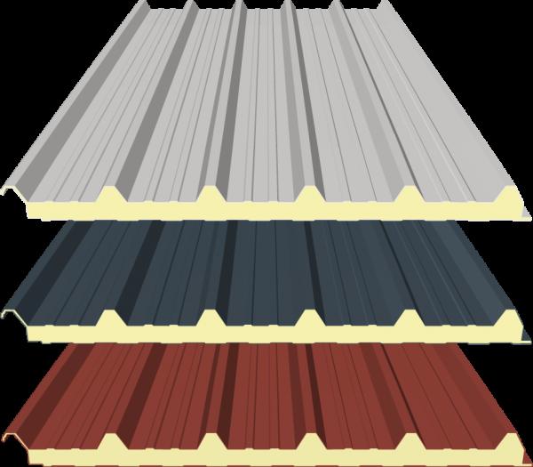 40mm Sandwichplatten Dach - RAL 9002 (Grauweiß), RAL 8012 (Rotbraun) und RAL 7016 (Anthrazitgrau)