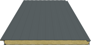 Sandwichpaneele Wand | 100mm Steinwolle | RAL 7012 (Basaltgrau)