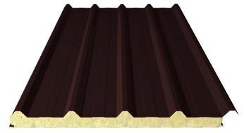 Sandwichpaneele Dach | 200 mm Steinwolle | RAL 8012 (Rotbraun)